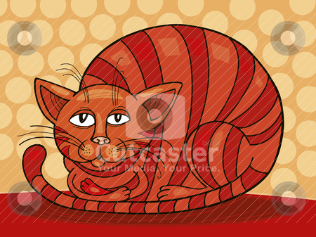 Sleepy Red Cat stock vector clipart, Illustration of sleepy Red Cat by Igor Zakowski