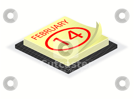 A vector illustration of a desk calender turned to valentines da stock vector clipart, A vector illustration of a desk calender turned to valentines day February 14th saved as EPS 10 by Mike Price