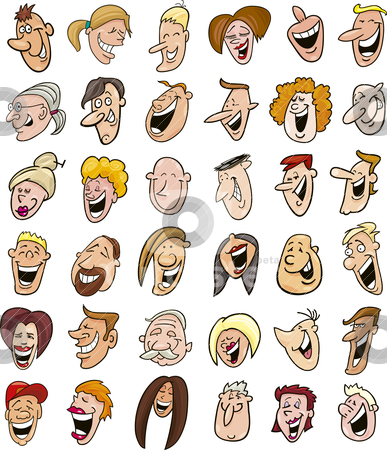 Huge set of laughing people faces  stock vector clipart, Cartoon illustration of huge set of laughing people faces by Igor Zakowski