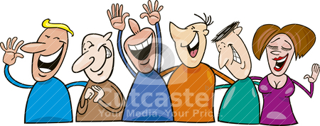 Group of laughing people stock vector clipart, Cartoon illustration of group of laughing people by Igor Zakowski