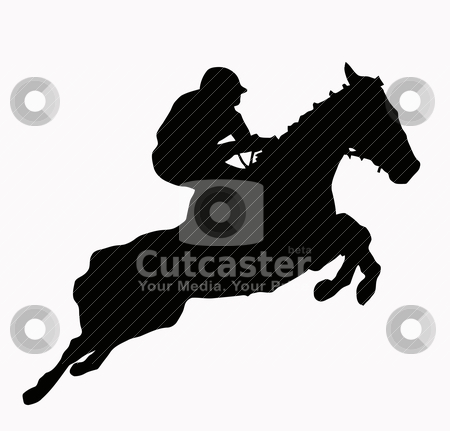 Sport Silhouette - Jokey stock vector clipart, Sport Silhouette - Jokey and horse jumping steeple by Snap2Art