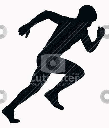 Sport Silhouette - Male Sprint Athlete stock vector clipart, Sport Silhouette - Male Sprint Athlete isolated black image on white background by Snap2Art