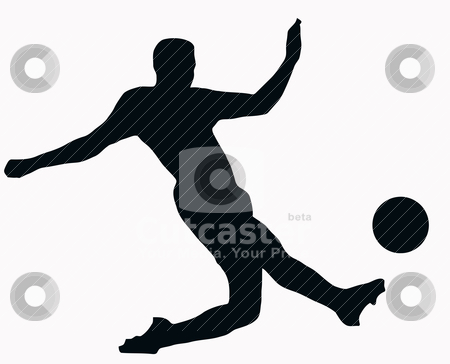 Sport Silhouette - Soccer player kicking ball stock vector clipart, Sport Silhouette -Soccer player kicking ball isolated black image on white background by Snap2Art