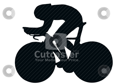 Sport Silhouette - Bicycle Racer stock vector clipart, Sport Silhouette - Bicycle Race isolated black image on white background by Snap2Art