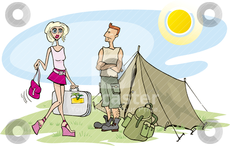 Blond girl on camp stock vector clipart, Humorous illustration of blond girl on camp by Igor Zakowski