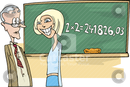 School girl with math problem stock vector clipart, Illustration of school girl with math problem by Igor Zakowski