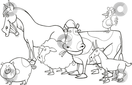 Farm animals for coloring book stock vector clipart, Farm animals illustration for coloring book by Igor Zakowski