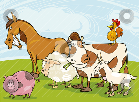 Farm animals stock vector clipart, Funny farm animals group cartoon illustration by Igor Zakowski