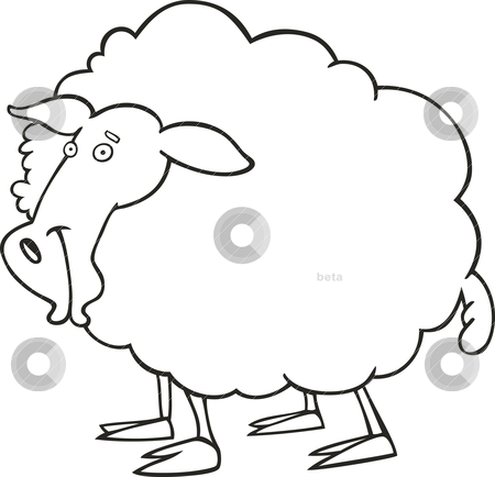 Sheep for coloring book stock vector clipart, Illustration of farm sheep for coloring book by Igor Zakowski