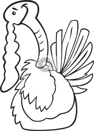 Cartoon turkey for coloring book stock vector clipart,  by Igor Zakowski