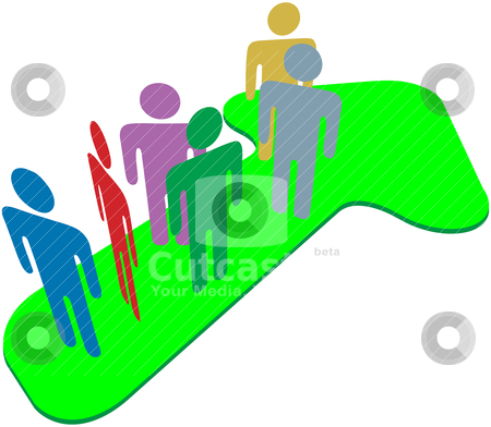 People team on symbol arrow to progress success stock vector clipart, People team stand on up pointing symbol arrow to progress and success by Michael Brown