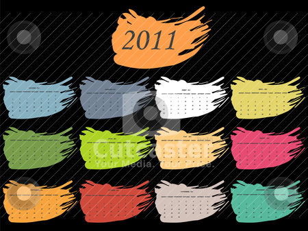 Color spot calendar for 2011 stock vector clipart, color spot calendar for 2011 by Laschon Robert Paul