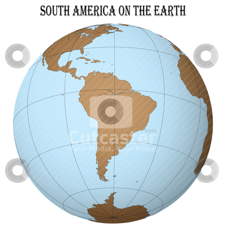 South america on the earth stock vector clipart, south america on the earth by Laschon Robert Paul