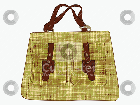 Textured hand bag against white stock vector clipart, textured hand bag against white by Laschon Robert Paul