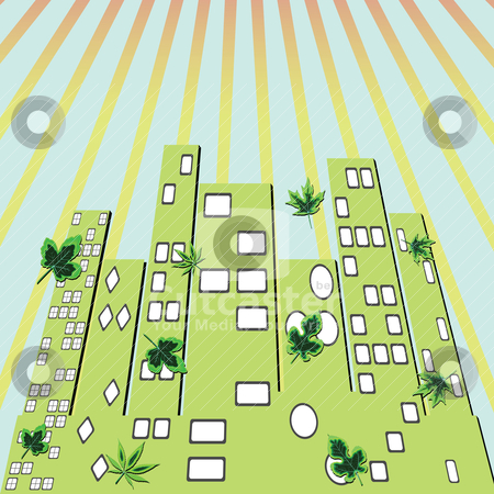 City green stock vector clipart, city green by Laschon Robert Paul