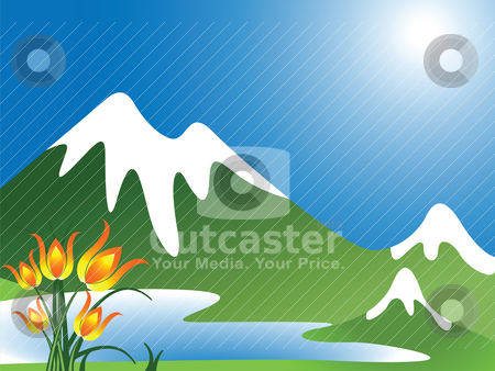 Mountain landscape stock vector clipart, mountain landscape by Laschon Robert Paul