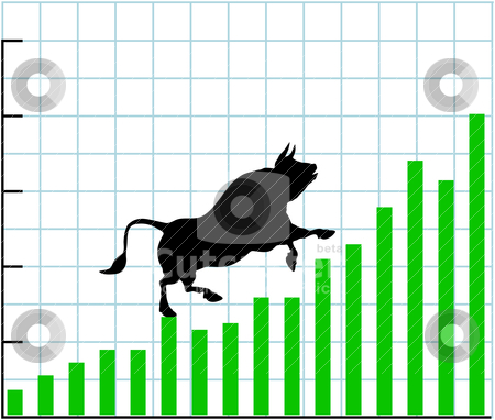Up bull market rise bullish stock chart graph stock vector clipart, Bull climbs up a bullish growth graph of stock market investing profit chart by Michael Brown