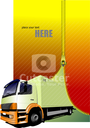 Zipper open small yellow truck. Lorry. Vector illustration stock vector clipart, Zipper open small yellow truck. Lorry. Vector illustration by Leonid Dorfman