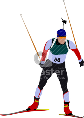 Cover for winter sport brochure with biathlon runner image. Vect stock vector clipart, Cover for winter sport brochure with biathlon runner image. Vector illustration by Leonid Dorfman