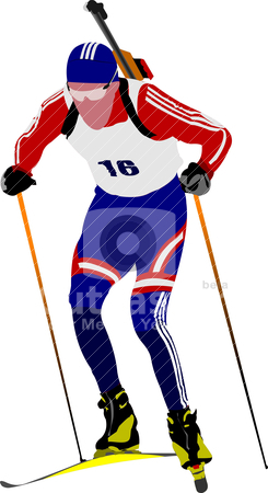 Biathlon runner colored silhouettes. Vector illustration stock vector clipart, Biathlon runner colored silhouettes. Vector illustration by Leonid Dorfman