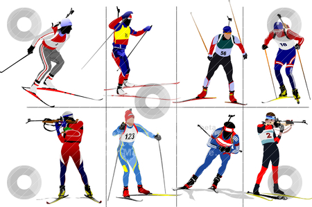Eight biathlon runners. Colored Vector illustration stock vector clipart, Eight biathlon runners. Colored Vector illustration by Leonid Dorfman