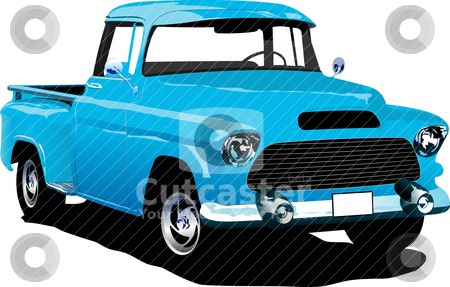 Old blue pickup with badges removed.  stock vector clipart, Old blue pickup with badges removed. Vector illustration by Leonid Dorfman