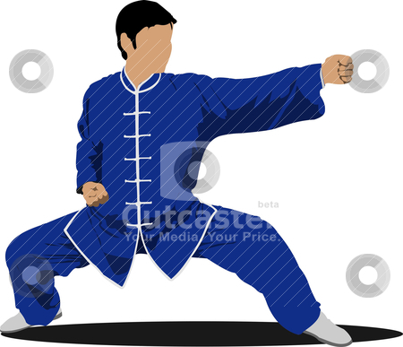 Wushu. KongFu.The sportsman in a position. Oriental combat sport stock vector clipart, Wushu. KongFu.The sportsman in a position. Oriental combat sports. by Leonid Dorfman
