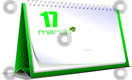Vector illustration of desk calendar. 17 march. St. Patrick`s da stock vector clipart, Vector illustration of desk calendar. 17 march. St. Patrick`s day by Leonid Dorfman