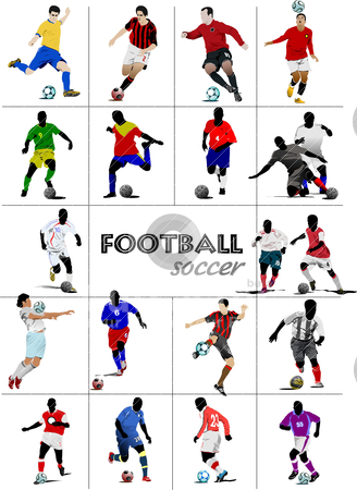 The big set of soccer (football) players. Colored vector illustr stock vector clipart, The big set of soccer (football) players. Colored vector illustration for designers by Leonid Dorfman