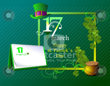 Vector of green hats and shamrocks for St. Patrick&amp;#039;s Day.  stock vector clipart, Vector of green hats and shamrocks for St. Patrick&amp;#039;s Day.  by Leonid Dorfman