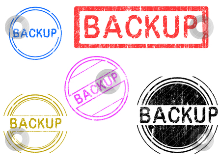 5 Grunge Stamps - Backup stock vector clipart, 5 Grunge effect Office Stamp with the word BACKUP in a grunge splattered text. (Letters have been uniquely designed and created by hand) by Andrew Brown