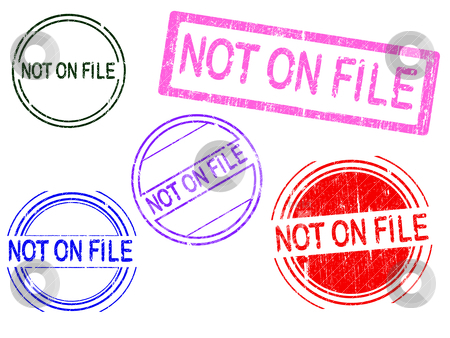 5 Grunge Stamps - Not on FILE stock vector clipart, 5 Grunge effect Office Stamp with the word NOT ON FILE in a grunge splattered text. (Letters have been uniquely designed and created by hand)  by Andrew Brown
