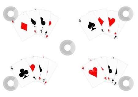 Aces stock vector clipart, All 4 aces from a pack of cards by SallyM1976