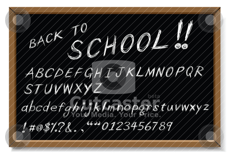 Back to school message stock vector clipart, back to school message, as white chalk writing. by Mtkang