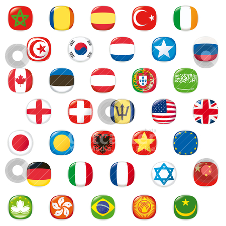 Set of world flags. Vector button  stock vector clipart, Glossy button flags vector illustration  by alvaroc