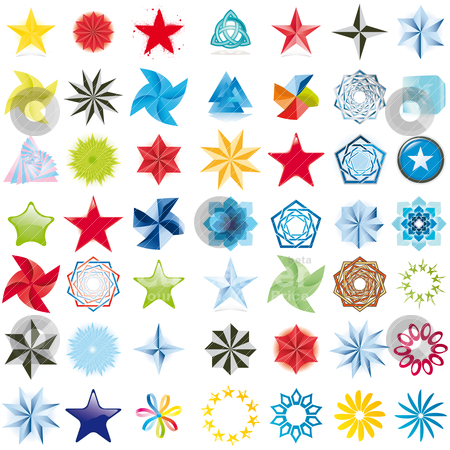 A set of 49 colored design elements. stock vector clipart, A set of 49 colored design elements. by alvaroc