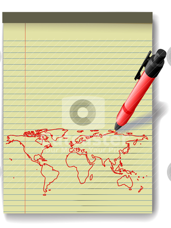Pen drawing World Map on Legal Pad Paper red ink stock vector clipart, Pen drawing a world map in red ink on a yellow legal paper pad  by Michael Brown