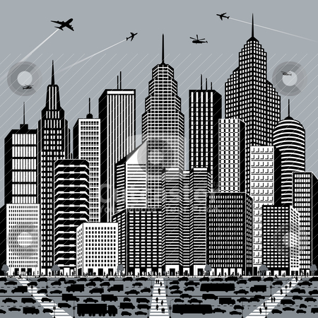 Big City stock vector clipart, Illustration of a generic cityscape with people and vehicles. by Lisa Fischer