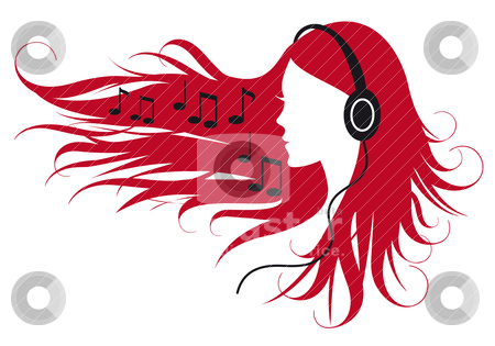 Woman listening music stock vector clipart, woman with headphones and music notes, vector illustration by Beata Kraus