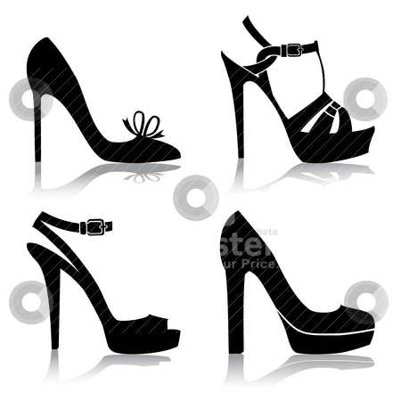 Shoes collection stock vector clipart, Shoes silhouette collection for your design, isolated on white, full scalable vector graphic for easy editing and color change. by Ela Kwasniewski