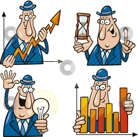 Business cartoons with funny man stock vector clipart, business concept cartoon illustrations with funny man by Igor Zakowski