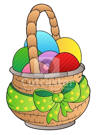 easter eggs in a basket pictures. Basket with Easter eggs