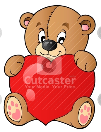 Cute teddy bear holding heart stock vector clipart, Cute teddy bear holding heart - vector illustration. by Klara Viskova