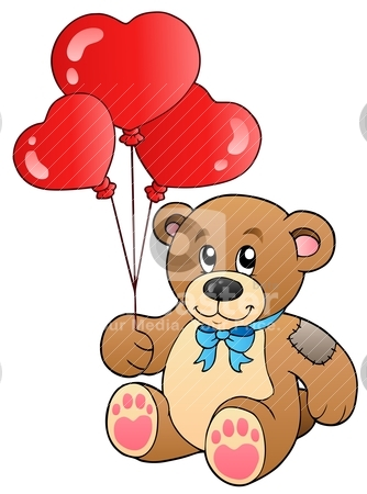 Cute teddy bear with balloons stock vector clipart, Cute teddy bear with balloons - vector illustration. by Klara Viskova