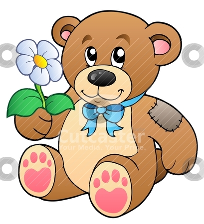Cute teddy bear with flower stock vector clipart, Cute teddy bear with flower - vector illustration. by Klara Viskova