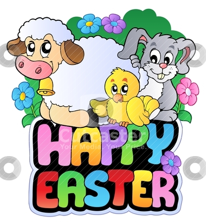Happy Easter sign with animals stock vector clipart, Happy Easter sign with animals - vector illustration. by Klara Viskova