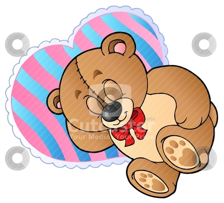 Teddy bear on heart shaped pillow stock vector clipart, Teddy bear on heart shaped pillow - vector illustration. by Klara Viskova