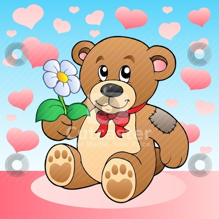 Teddy bear with flower and hearts stock vector clipart, Teddy bear with flower and hearts - vector illustration. by Klara Viskova