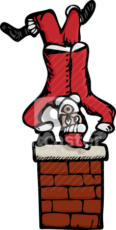 Upside-Down Santa stock vector clipart, Drawing of an upside-down Santa Claus on top of a brick chimney. by Eric Basir