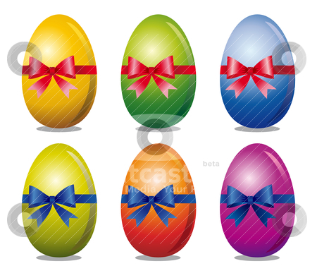 Set of easter eggs stock vector clipart, Colorful easter eggs with bow over white background, design in six variations, full scalable vector graphic for easy editing and color change by Ela Kwasniewski